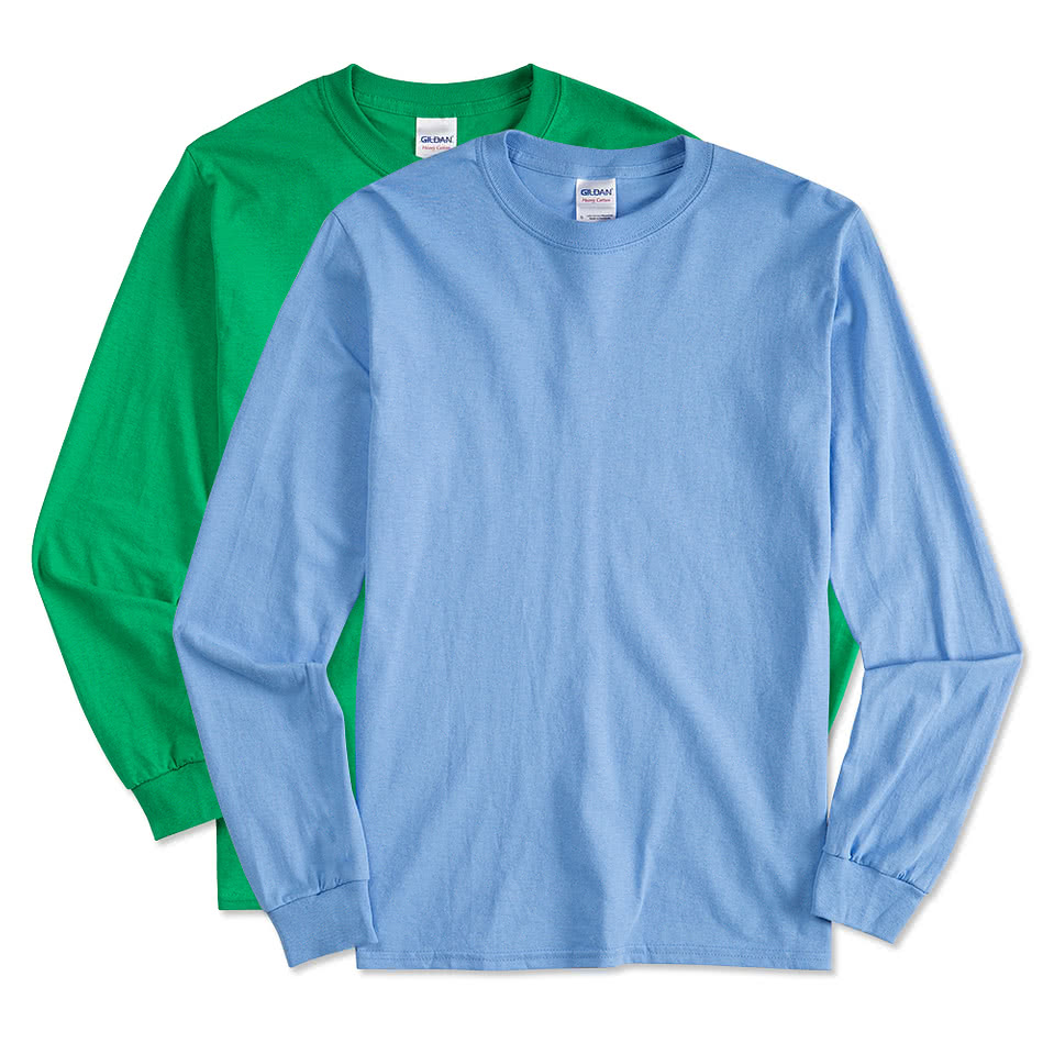 Custom gildan 100 cotton long sleeve t shirt design for Gildan t shirts online