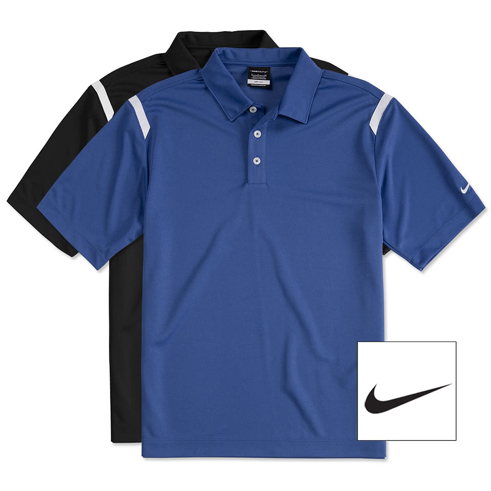 Design custom embroidered nike golf dri fit shoulder for Customize nike shirts online