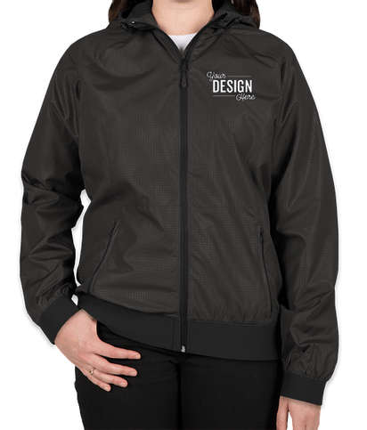 Sport-Tek Women's Embossed Full Zip Hooded Jacket - Black / Black