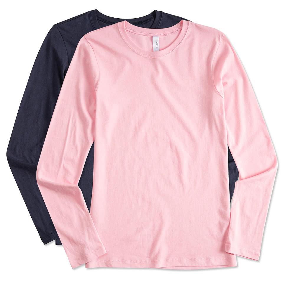Custom bella juniors long sleeve jersey t shirt design for Personalized long sleeve t shirts