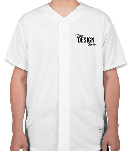 Sport-Tek Tough Mesh Full Button Baseball Jersey - White