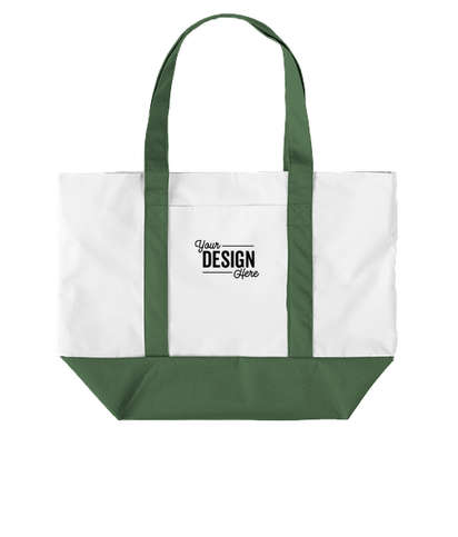 Large Poly Zippered Boat Tote Bag - White / Forest