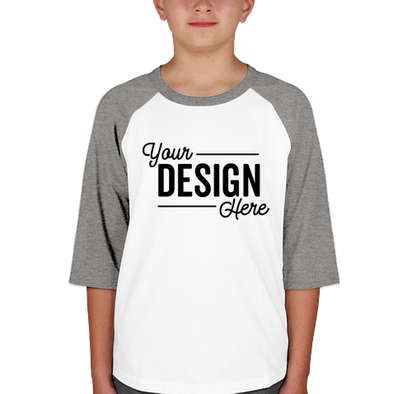 Sport-Tek Youth Raglan T-shirt - White / Heather Grey
