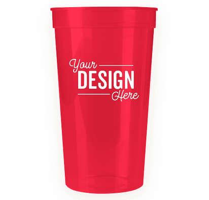 32 oz. Translucent Plastic Stadium Cup - Translucent Red