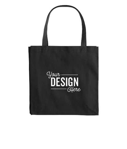 Large Gusseted Midweight 100% Cotton Canvas Tote Bag - Black