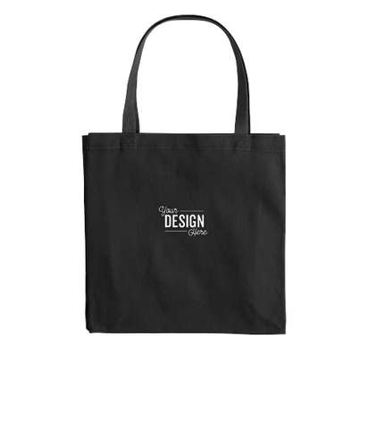 Embroidered Large Gusseted Midweight 100% Cotton Canvas Tote Bag - Black