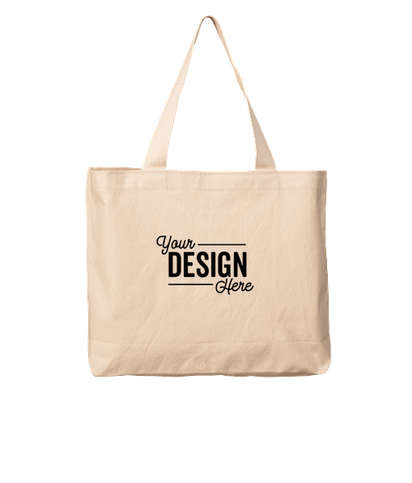 Bayside USA-Made Large 100% Cotton Canvas Tote Bag - Natural