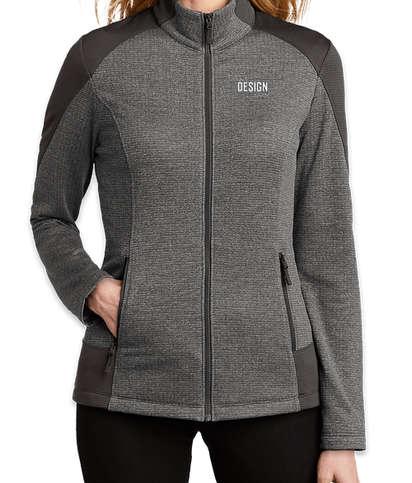 Port Authority Women's Full Zip Grid Tech Fleece Jacket - Grey Smoke Heather/ Grey Smoke