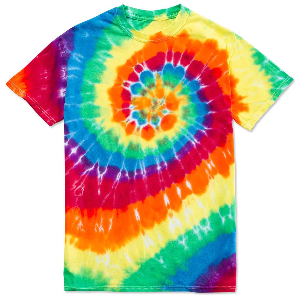 Custom dyenomite 100 cotton rainbow tie dye t shirt for Custom tie dye t shirts