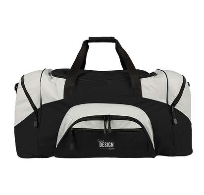 Port Authority Colorblock Gym Bag - Embroidered - Black / Grey
