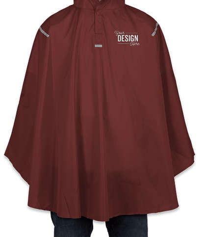 Team 365 Packable Reflective Poncho - Sport Maroon