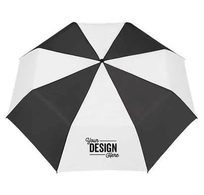 "42"" Arc Budget Multi-Tone Telescopic Folding Umbrella - Black / White"