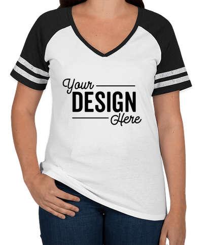 District Women's Game Time V-Neck T-shirt - White / Black