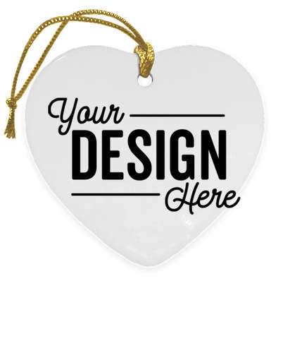 Full Color Heart Ceramic Ornament - White with Gold Cord