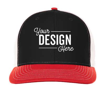 Richardson Twill Back Snapback Hat - Black / White / Red
