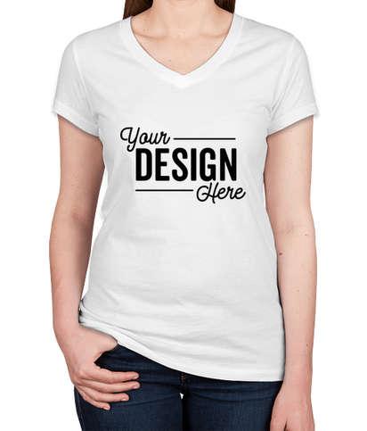 Bella + Canvas Women's Slim Fit Jersey V-Neck T-shirt - White