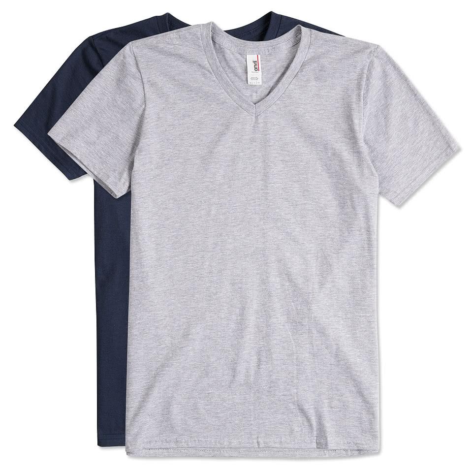 Custom anvil jersey v neck t shirt design short sleeve t for Custom t shirts online