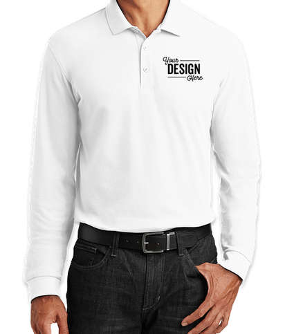 Port Authority Lightweight Classic Pique Long Sleeve Polo - White