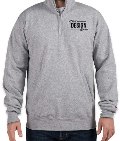 Embroidered Champion Double Dry Eco Quarter Zip Pullover Sweatshirt - Light Steel