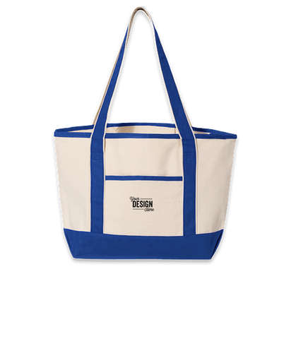 Embroidered Medium Deluxe Canvas Boat Tote Bag - Natural / Royal