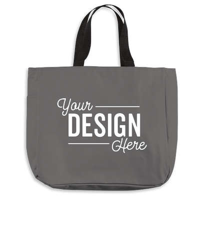 Port Authority Durable Side Pocket Poly Canvas Tote Bag - Charcoal