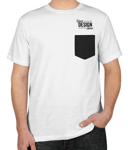 Bella + Canvas Jersey Contrast Pocket T-shirt - White / Black