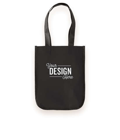 Small Laminated Shopper Tote Bag - Black