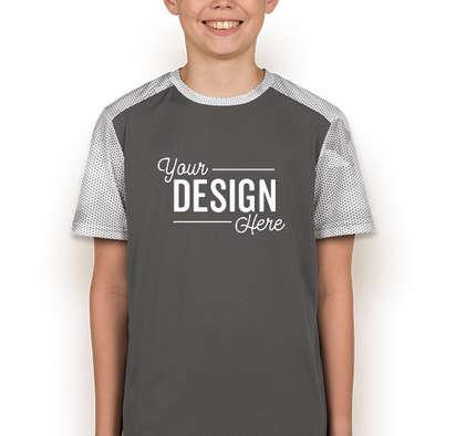 Sport-Tek Youth CamoHex Colorblock Performance Shirt - Iron Grey / White
