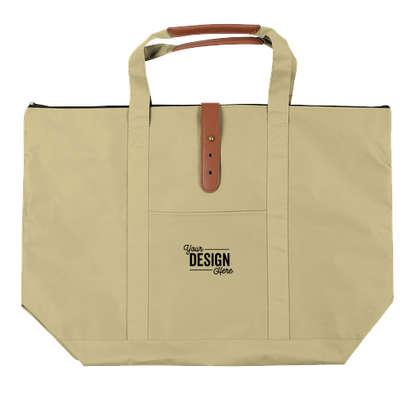Large Mallard Zippered Tote Bag - Khaki