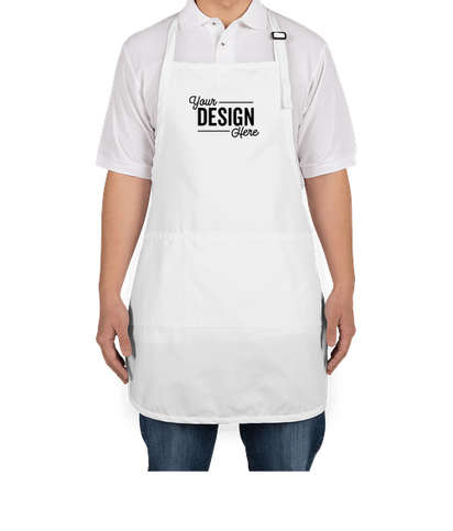 Port Authority Stain Release Full Length Apron - Screen Printed - White