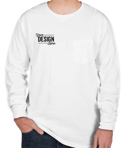 Port & Company Pigment Dyed Long Sleeve Pocket T-shirt - White