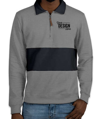 Charles River Quad Pullover - Heather Grey / Navy
