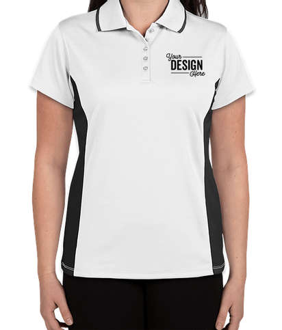 Charles River Women's Tipped Pique Performance Polo - White / Slate