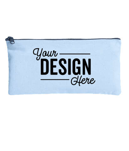 Large Colored Canvas Pouch with Colored Zipper - Powder Puff/ Midnight