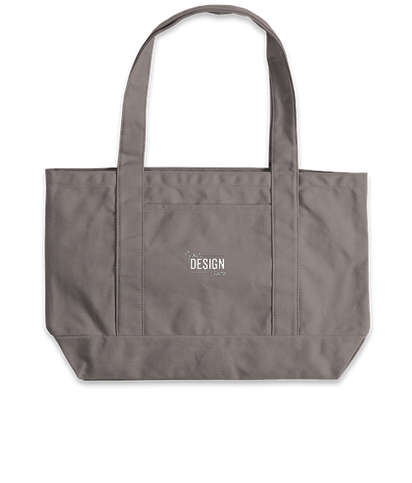 Embroidered Large Midweight Gusseted Pigment Dyed Boat Tote Bag - Grey