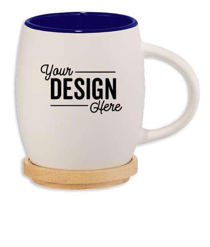 14 oz. Hearth Ceramic Mug with Lid/Coaster - White w/ Blue Trim