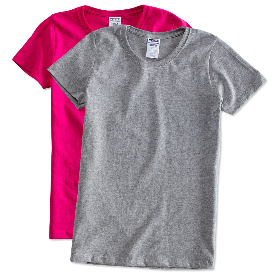 Custom jerzees ladies 50 50 t shirt design ladies short for Create your t shirt online