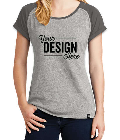 New Era Women's Heritage Blend Short Sleeve Raglan T-shirt - Graphite / Light Graphite Twist
