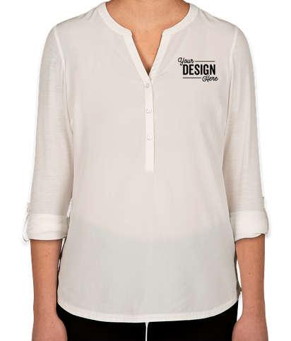 Port Authority Women's Henley Tunic Blouse - Ivory Chiffon