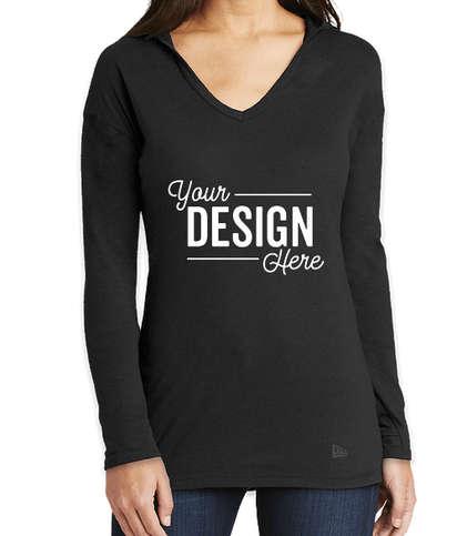 New Era Women's Tri-Blend Long Sleeve Hooded Performance Shirt - Black