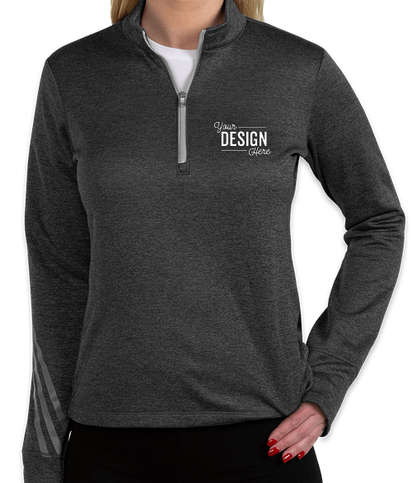 Adidas Women's Brushed Terry Heather Quarter Zip Pullover - Black Heather / Mid Grey