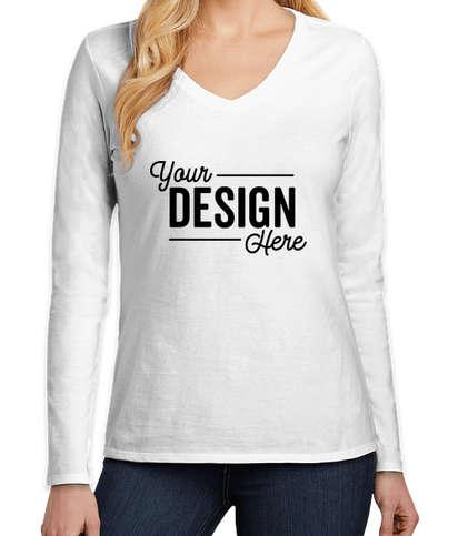 District Women's V.I.T. Long Sleeve V-Neck T-shirt - White