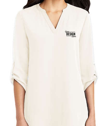 Port Authority Women's 3/4 Sleeve Tunic Blouse - Ivory Chiffon