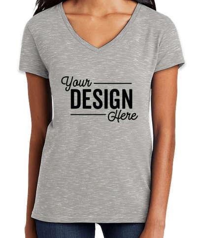 District Women's Melange V-Neck T-shirt - Light Grey