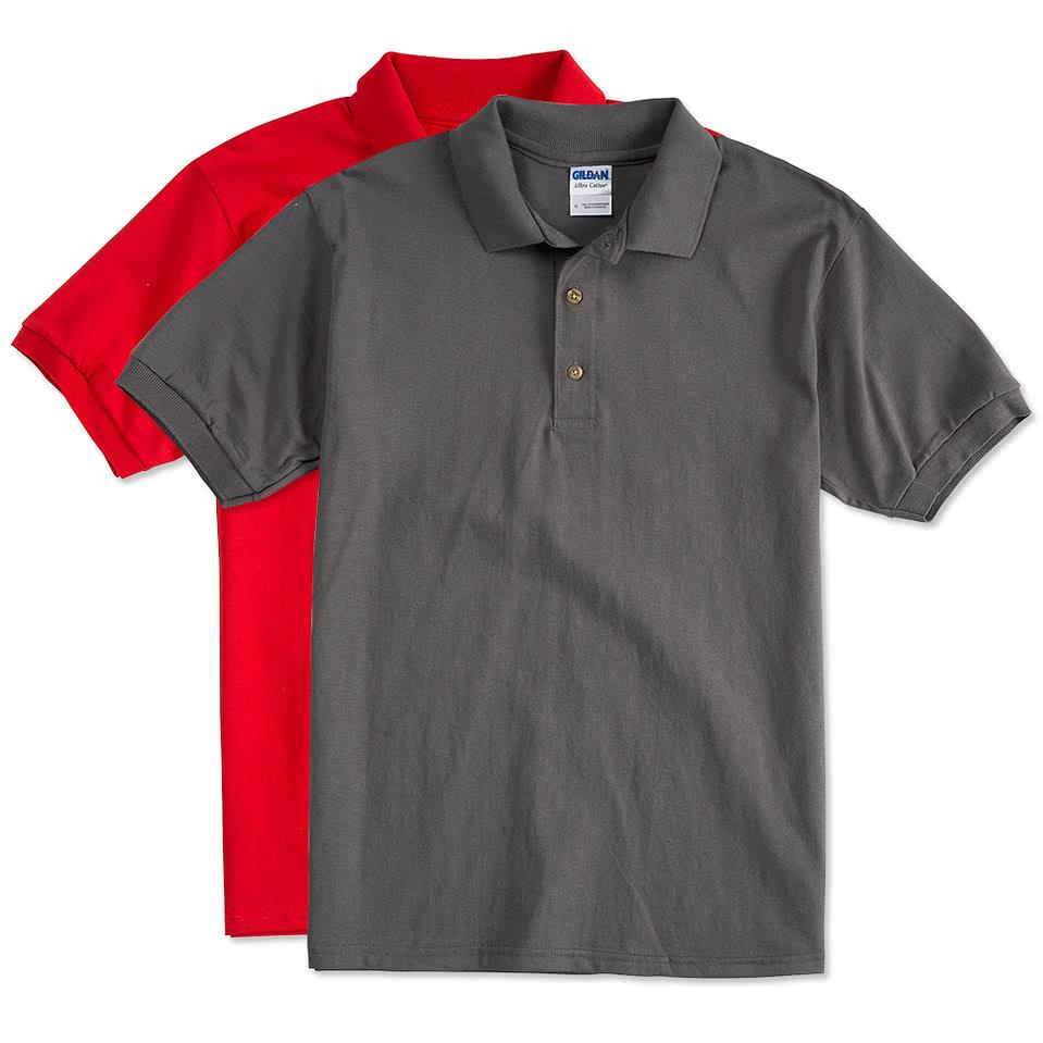 Design custom printed gildan ultra cotton polo shirts for Custom printed polo shirts cheap