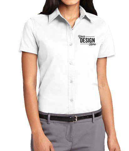 Port Authority Women's Short Sleeve Easy Care Shirt - White/Light Stone