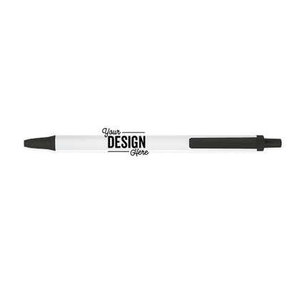 BIC Clic Stic Pen (blue ink) - White / Black