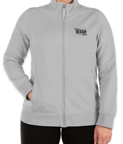 Charles River Women's Clifton Garment Dyed Full Zip Sweatshirt - Light Grey