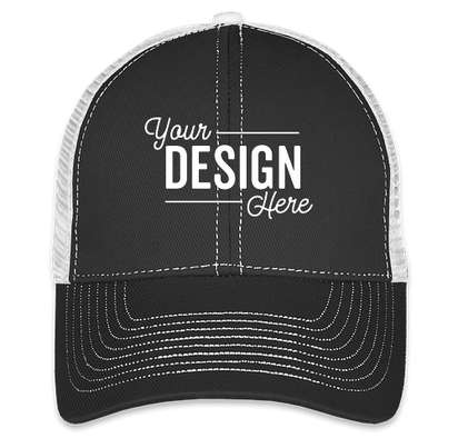 Mega Cap Contrast Stitch Trucker Hat - Black / White