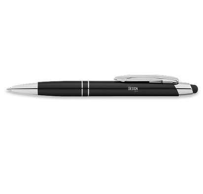 Laser Engraved Carson Ballpoint Stylus Pen (blue ink) - Black